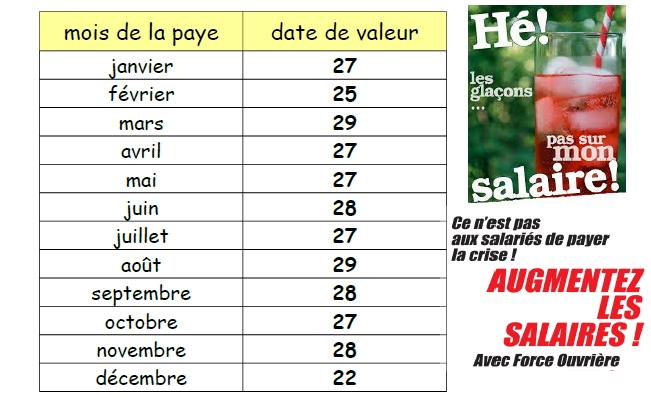 Calendrier Paie Dgfip.F O Dgfip 14 Le Site De La Section Du Calvados Du Syndicat