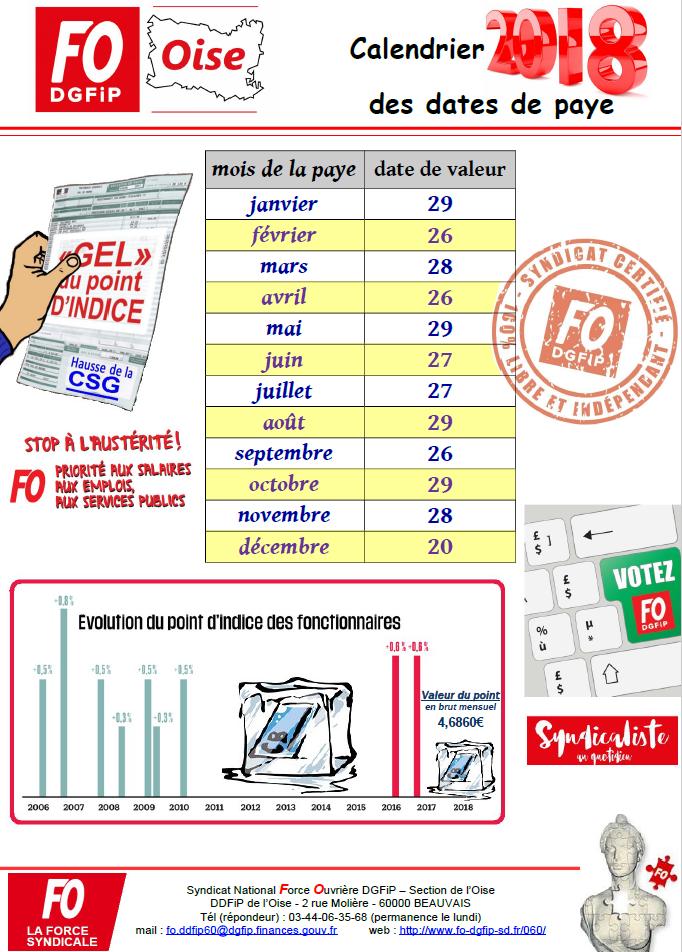 Calendrier Paie Dgfip.F O Dgfip 60 Le Site De La Section De L Oise Du Syndicat